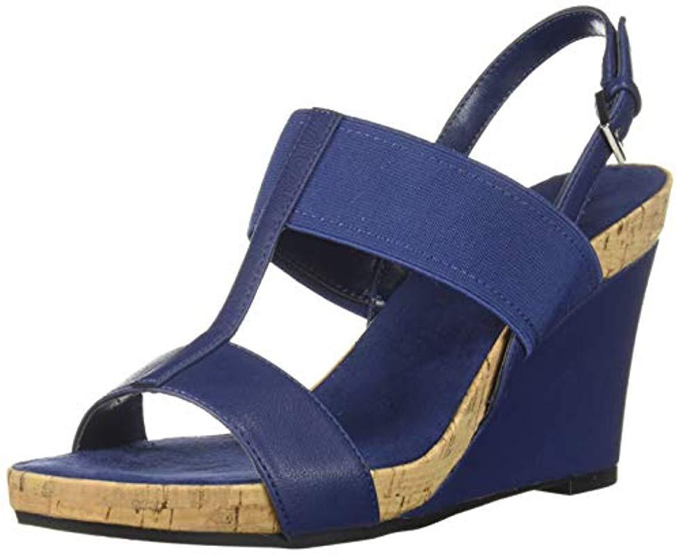 567775ca6301 Lyst - Aerosoles Plush Behind Wedge Sandal in Blue