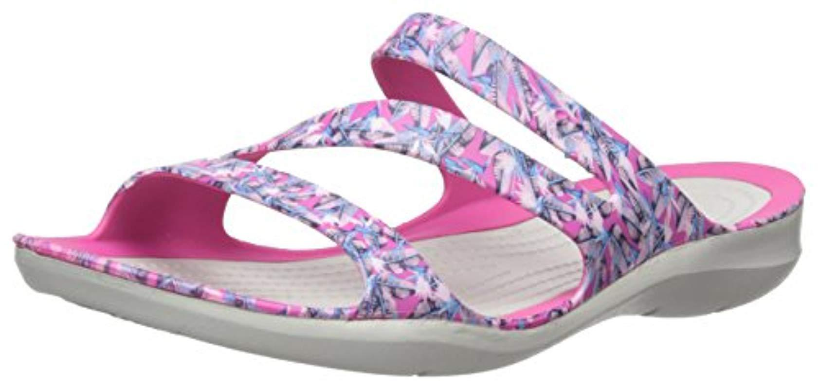 faf857ee18b5c7 Lyst - Crocs™ Swiftwater Graphic Sandal in Pink - Save ...