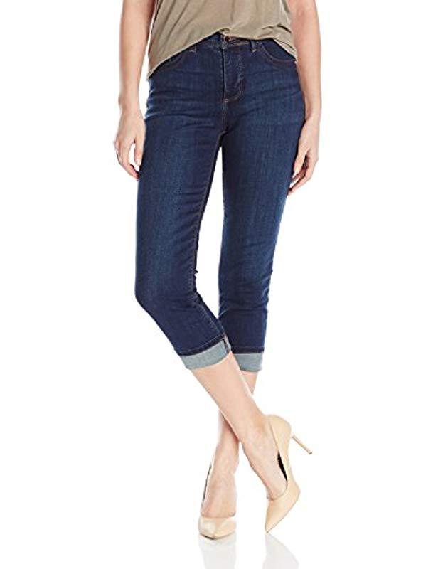 04e65ee4b4832 Lyst - Lee Jeans Easy Fit Cameron Cuffed Capri Jean in Blue - Save ...