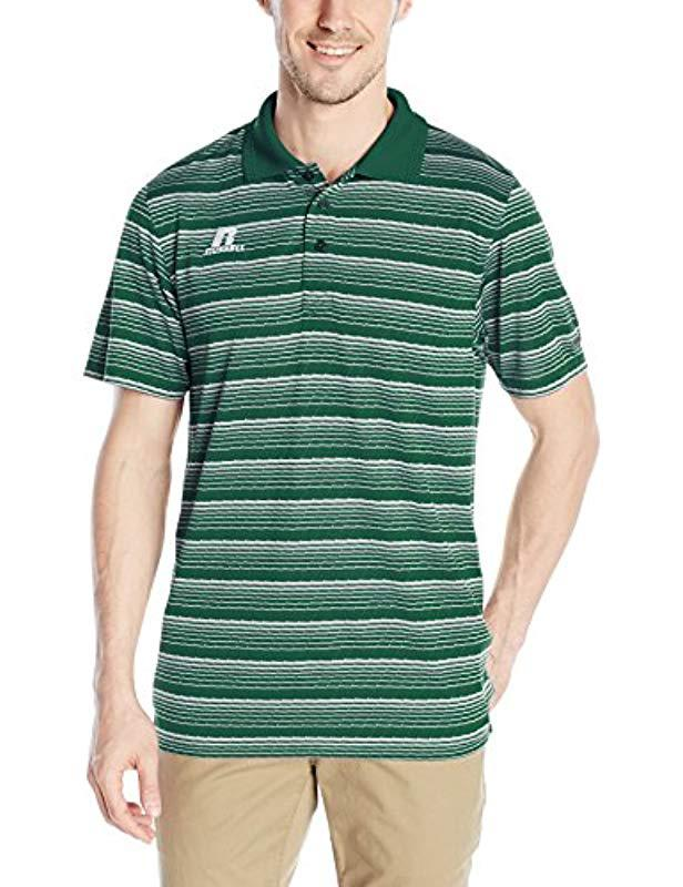 aed632a1de01 Russell Athletic - Green Striped Jersey Golf Polo for Men - Lyst. View  fullscreen