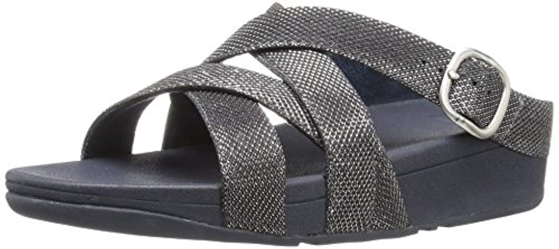 41ccb2d8bc3cc2 Lyst - Fitflop The Skinny Sparkle Criss-cross Slide Flip Flop