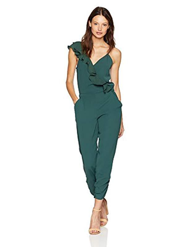 08f3c37d1c67 Lyst - Parker Addison Sleeveless Ruffle Jumpsuit in Green