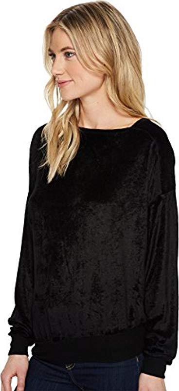 133a3486bca Michael Stars - Black Vali Velvet Long Sleeve Assymetric Neck Pullover -  Lyst. View fullscreen