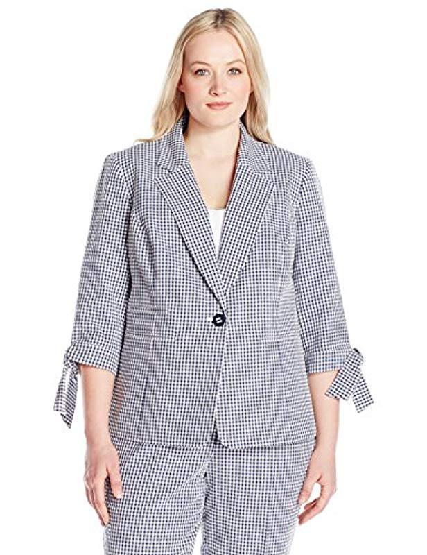 c11f37c1e50 Nine West. Women s Blue Plus Size 1 Button Notch Collar Gingham Jacket ...