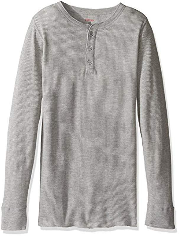 f53defb2b359 Lyst - Hanes Red Label X-temp Thermal Henley in Gray for Men - Save 6%