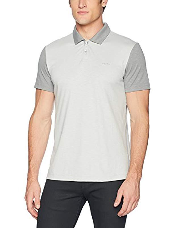 5ecb1002c Lyst - Calvin Klein Short Sleeve Color Block Polo Shirt in Gray for ...