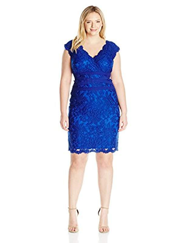 0fddaf7b8c83b Lyst - Tadashi Shoji Plus-size V-neck Embroidered Lace Dress in Blue