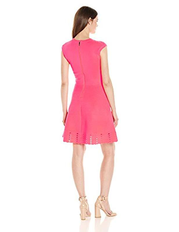 Lyst - Ted Baker Zaralie Jacquard Panel Skater Dress in Pink - Save 42% 8a73cf290
