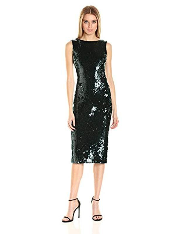 2688aa92838d3 Lyst - Dress the Population Audrey Low Back Sequin Dress in Green ...