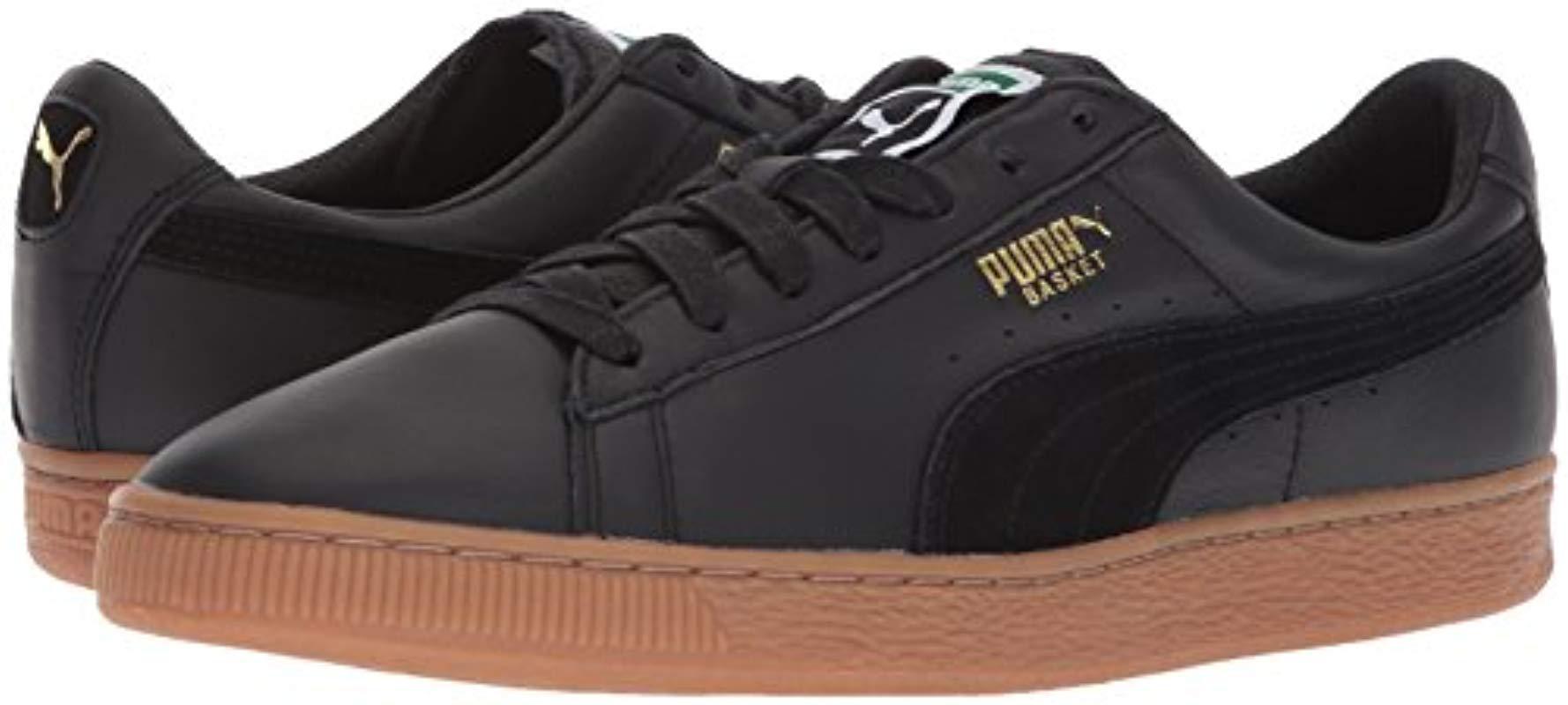 new arrival 93b60 7644d PUMA Basket Classic Gum Deluxe Sneaker in Black for Men - Lyst