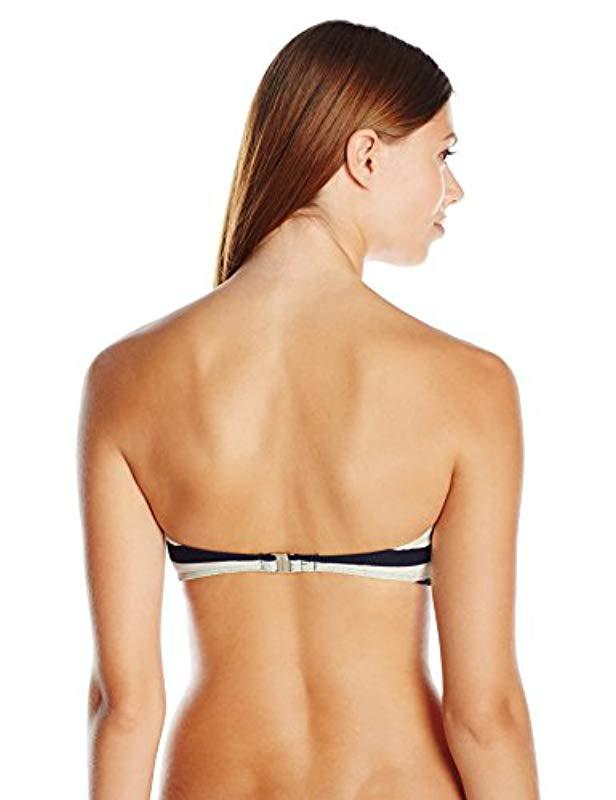 c5a48585e0 Lyst - Ted Baker Ciranoo Navy White Stripe Bandeau Bikini Top in Blue -  Save 63%