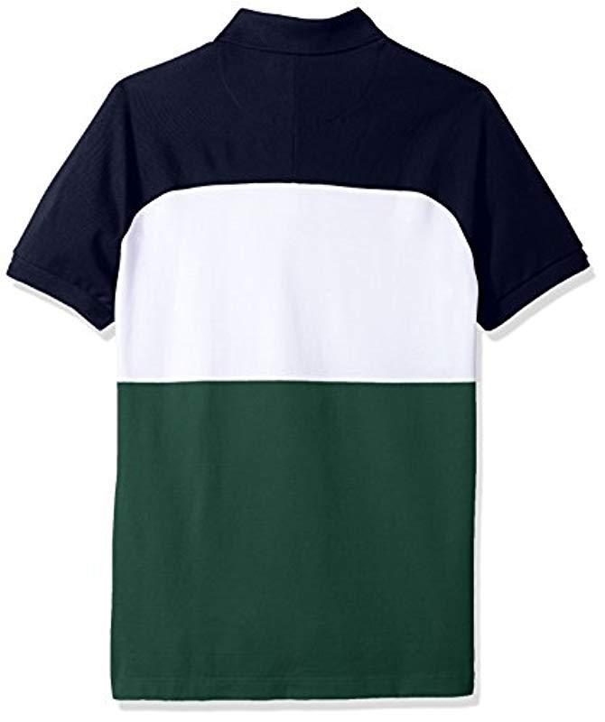 e7e505d430 Lacoste Short Sleeve Color Block Life Stripe Pique Classic Polo, Ph3214 in  Blue for Men - Lyst
