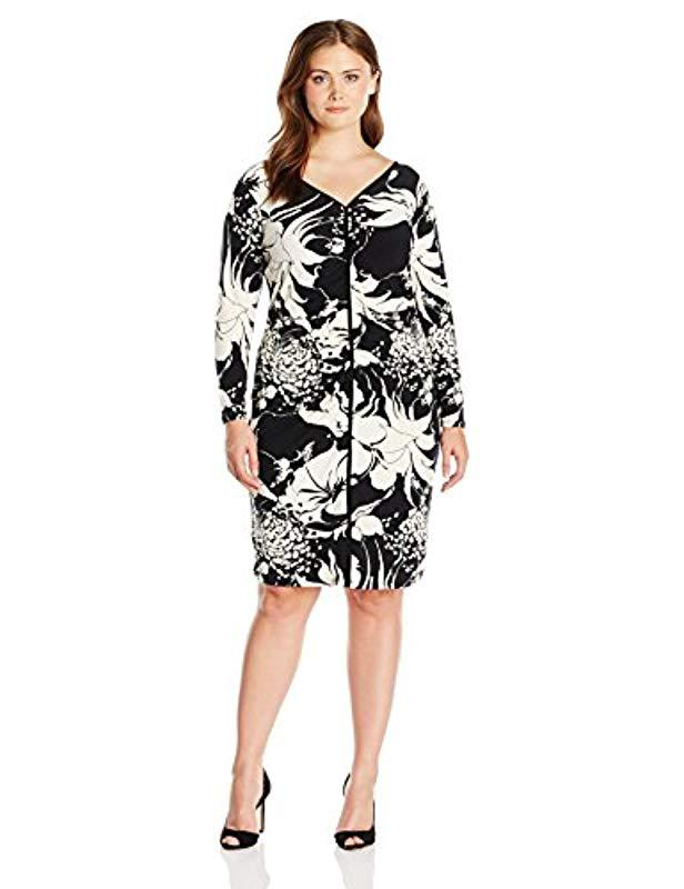 Lyst Adrianna Papell Plus Size V Neck Center Ruched Dress In Black