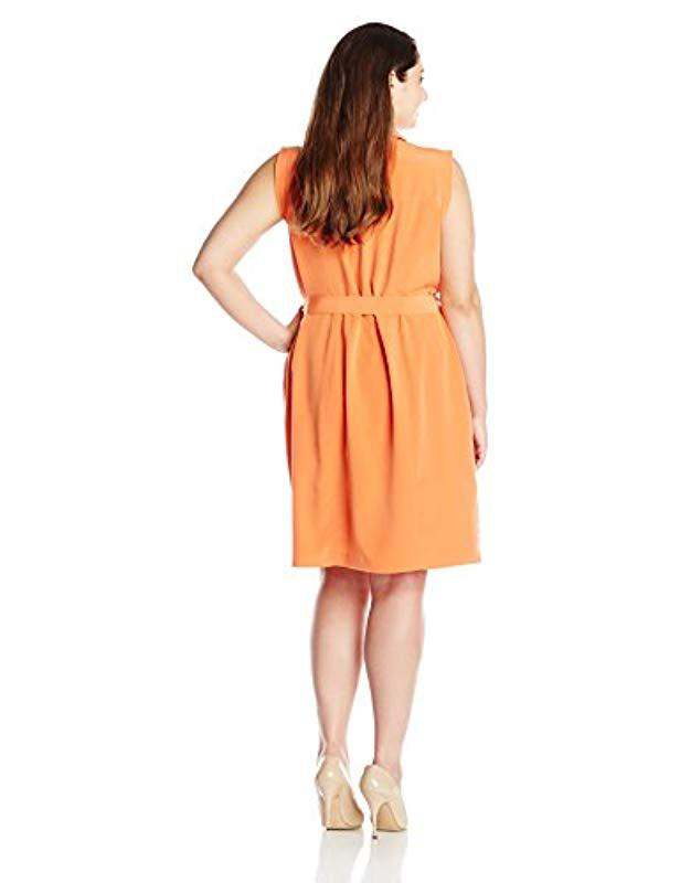 8318a554 Lyst - Calvin Klein Plus-size Zip-front Moto Dress in Orange - Save  17.985611510791372%