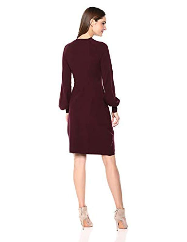 22a0b71f7d6a Lyst - Lark & Ro Mock Neck Fit And Flare Sweater Dress With Bell Sleeves in  Red