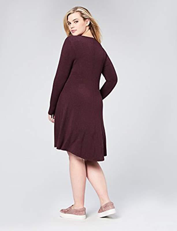 969de87578 Lyst - Daily Ritual Plus Size Jersey Long-sleeve V-neck Dress in Purple