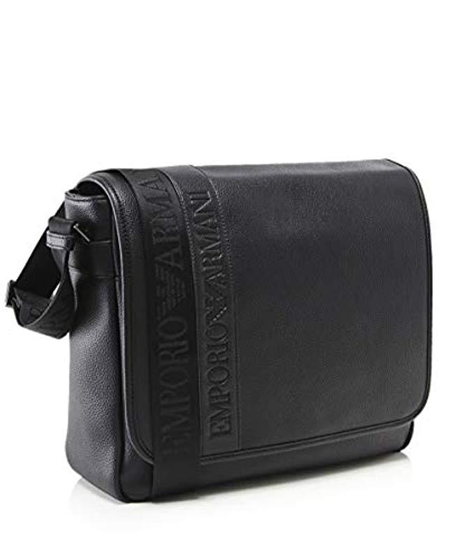 376a9c034d9c Lyst - Emporio Armani Logo Flap Messenger Bag in Black for Men - Save 30%