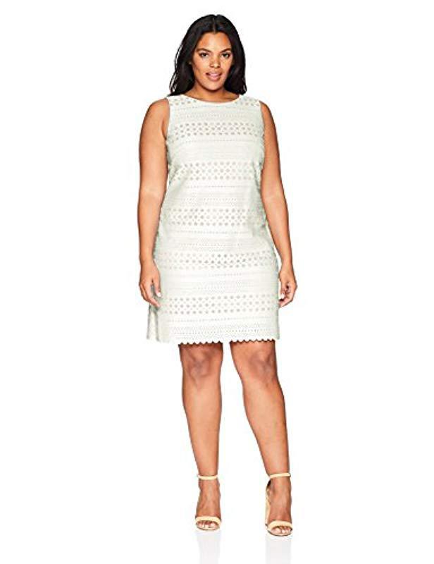 f941b5639e Lyst - Eliza J Plus Size Laser Cut Halter Dress in White - Save 18%