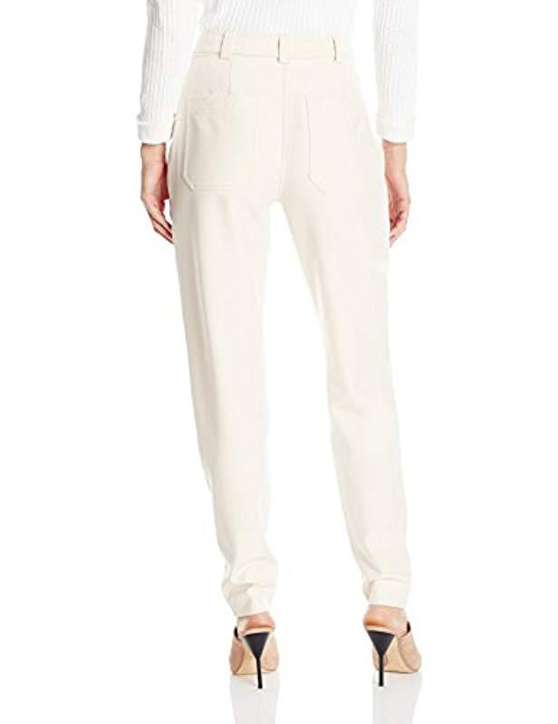 694360be2d5c17 Lyst - Rebecca Taylor Belted Suit Pant in Natural - Save 18%