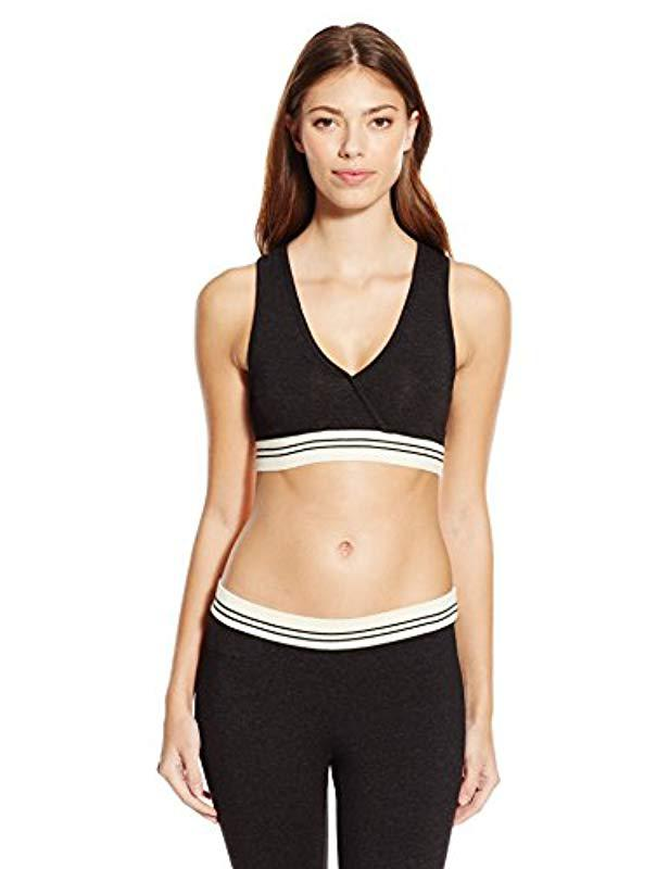 a424c0fa9a728 Lyst - Monrow Sporty Bra With Rib Band in Black