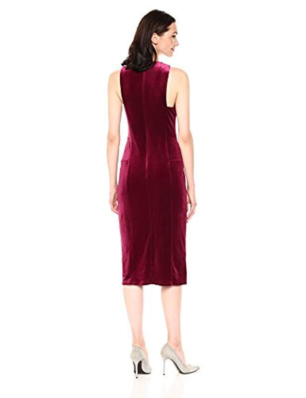 e74e0ac75e Lyst - BCBGMAXAZRIA Bcbgmax Azria Maren Knit Crushed Velvet Halter Dress in  Red - Save 15%