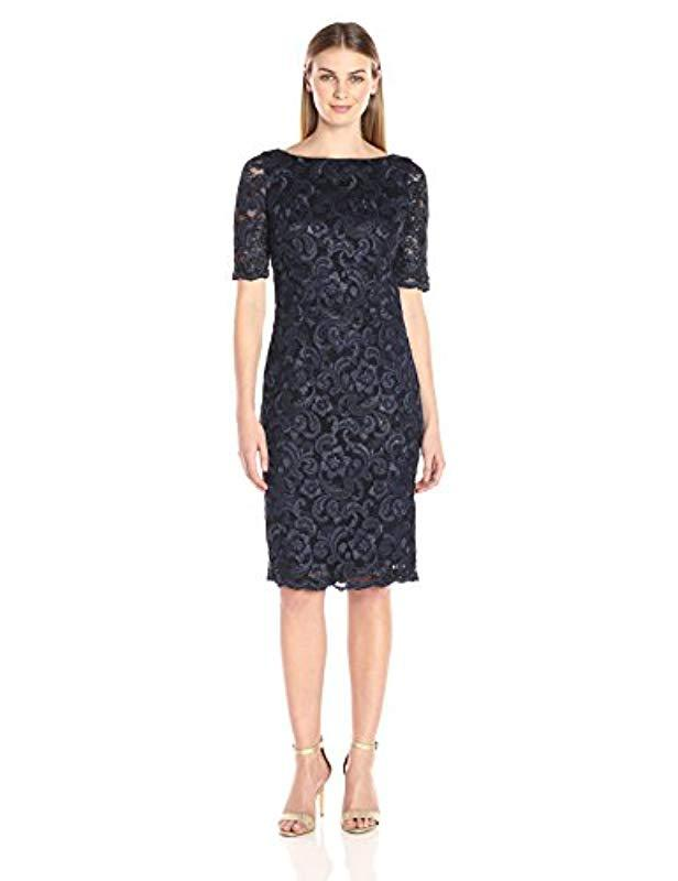 ddc0d8a1 Lyst - Eliza J Lace Midi Sheath Dress in Blue - Save 3%
