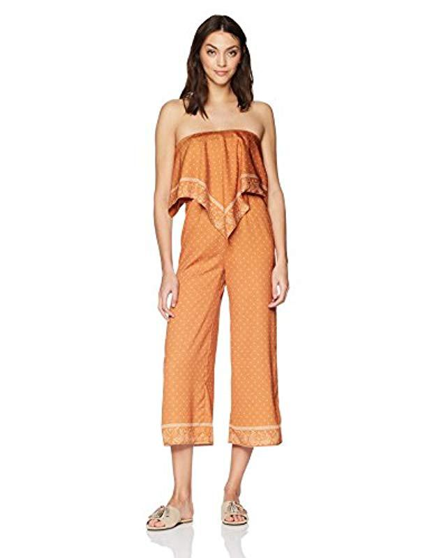 81275bd04094 Lyst - Finders Keepers Vanish Crop Strapless Jumpsuit in Orange ...