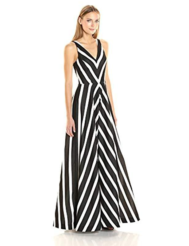 813cc9f052e8 Halston Sleeveless V-neck Striped Jacquard Gown in Black - Save 61 ...