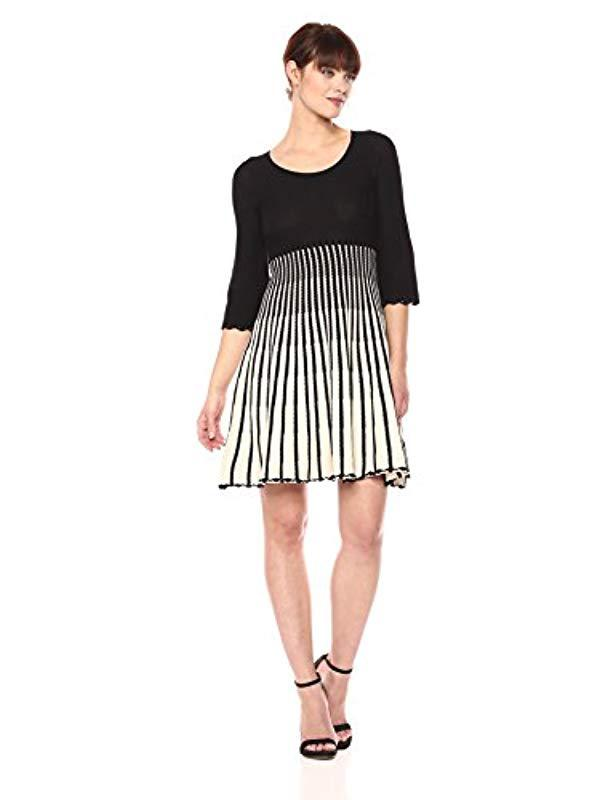 fba936769e7 French Connection. Women s Black Sunrise Tellin Vertical Stripe Long Sleeve  Dress