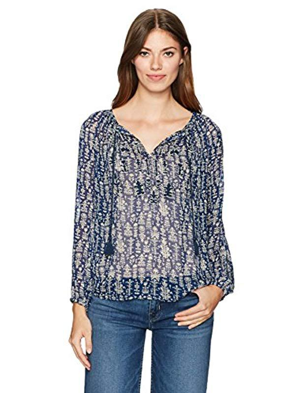 2db9c63437e0a Lyst - Lucky Brand Embroidered Viscose Peasant Top in Blue - Save 9%
