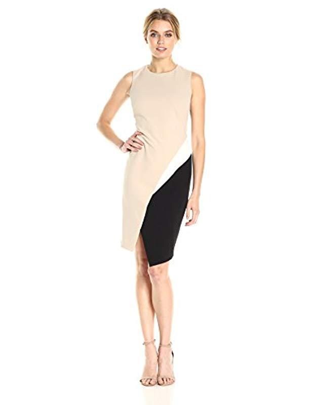 25034486 Lyst - Calvin Klein Sleeveless Color-block Dress in Black