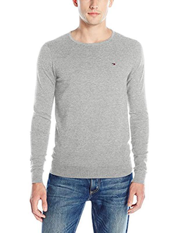 302c6a61 Tommy Hilfiger. Men's Gray Denim Original Crew-neck Long-sleeve Sweater
