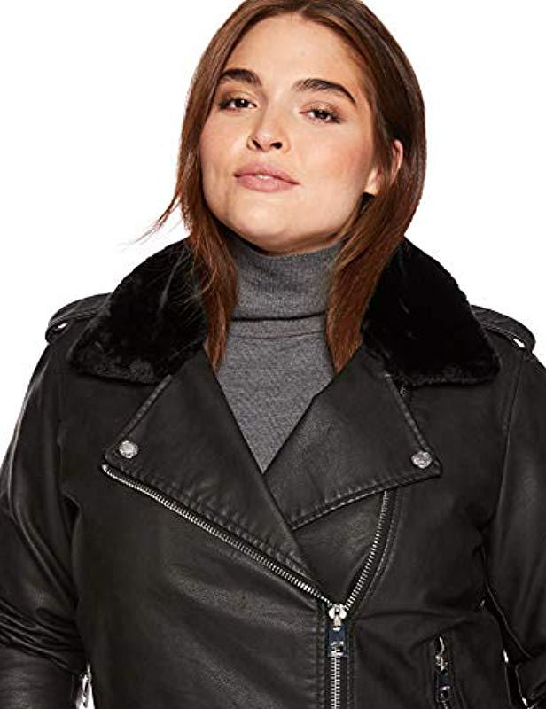 1a91af46902 Lyst - Levi s Plus Size Faux Leather Sherpa Motorcycle Jacket in Black