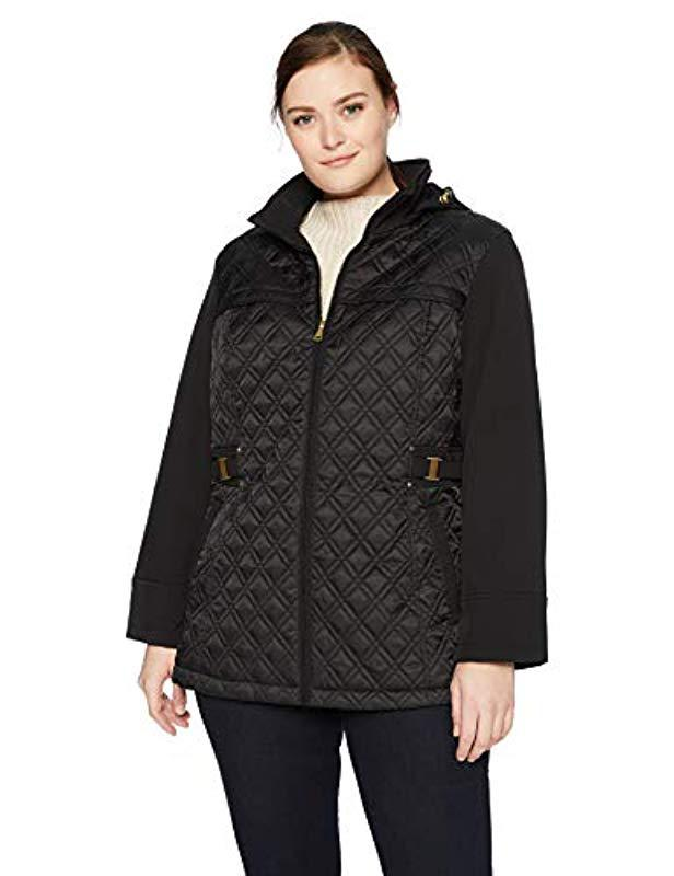 a745ac9b9c3 Via Spiga. Women s Black Plus-size Lightweight Quilted Jacket With Side Tabs