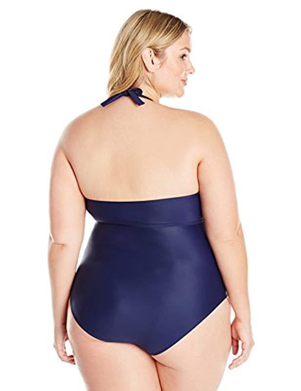 bacccaca29 Lyst - Coastal Blue Plus Size Swimwear Wrap Halter One Piece Swimsuit in  Blue