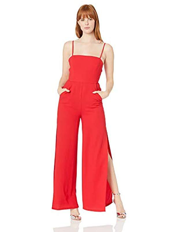 8f7b1f7902b Lyst - Bcbgeneration Slit Woven Ankle Jumpsuit in Red