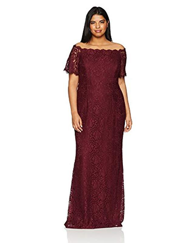 fab41b8a6f5 Lyst - Adrianna Papell Plus Size Lace Off The Shoulder Mermaid Skirt ...