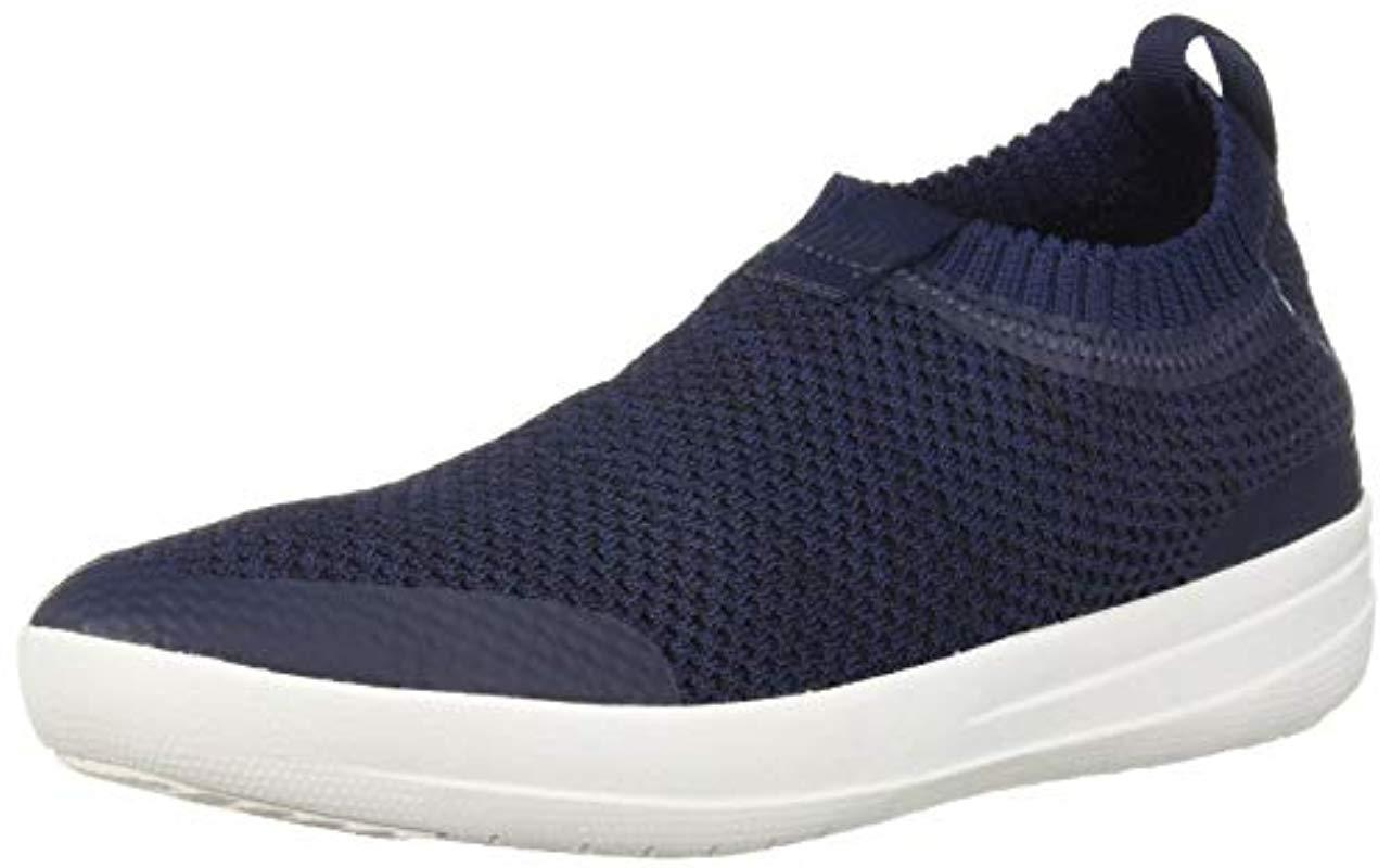 d9a505fefdbe8c Lyst - Fitflop Uberknit Slip On Knot Sneaker in Blue