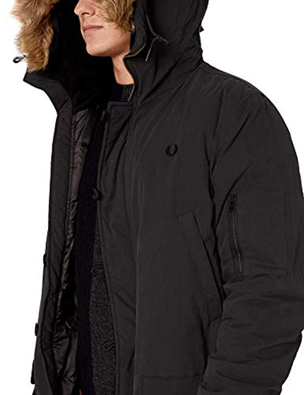 76ce06b03465 Lyst - Fred Perry Down Snorkel Parka in Black for Men