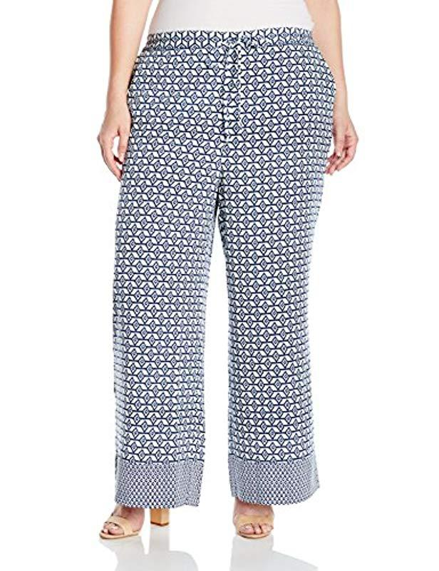 a4baed18d54 Lyst - Nydj Plus Size Printed Palazzo Pants in Blue - Save ...