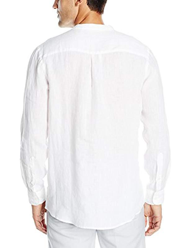 736dea73e306 Perry Ellis Long-sleeve Solid Linen Popover Shirt in White for Men - Save  9% - Lyst