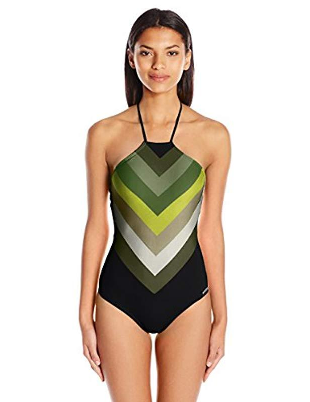 cb38383012 Lyst - Vince Camuto High Neck One Piece Swimsuit With Lace Back ...