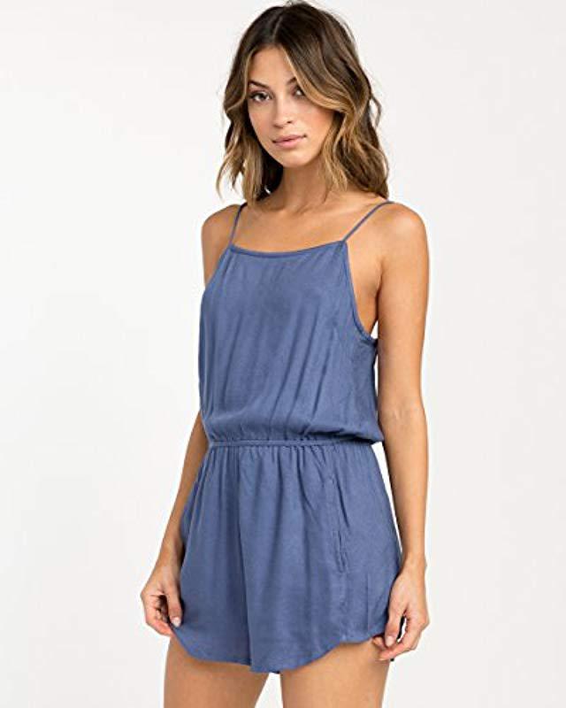 d036671f459 Lyst - Rvca Lily Strappy Romper in Blue