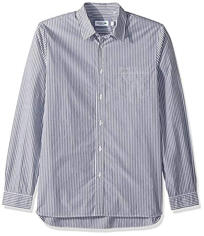 a36dfc1499 Lacoste Long Sleeve Bengal Stripe Poplin Collar Reg Fit Woven Shirt ...
