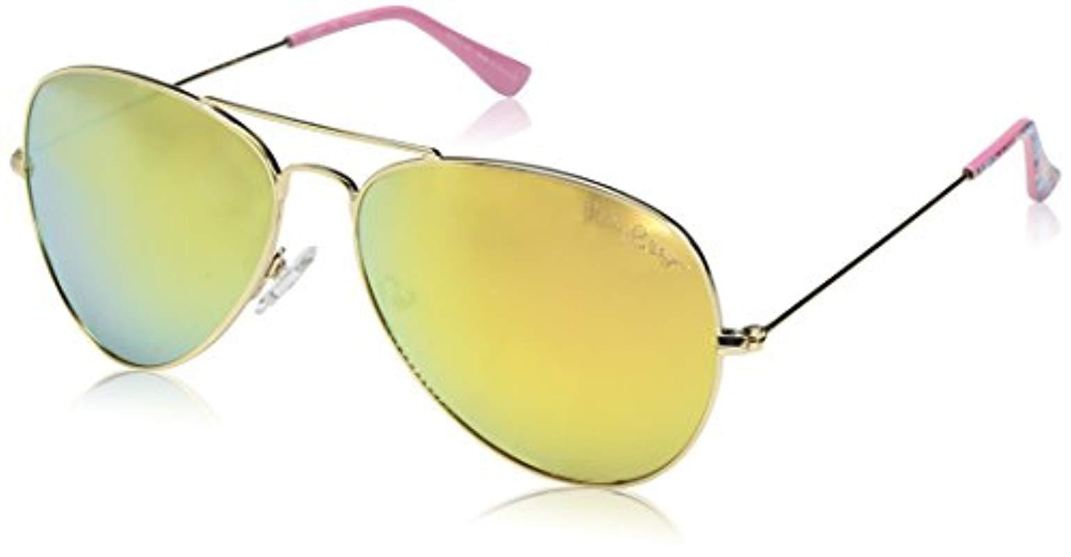 caaf0e1acdb Lyst - Lilly Pulitzer Lexy Polarized Aviator Sunglasses Shiny Gold ...