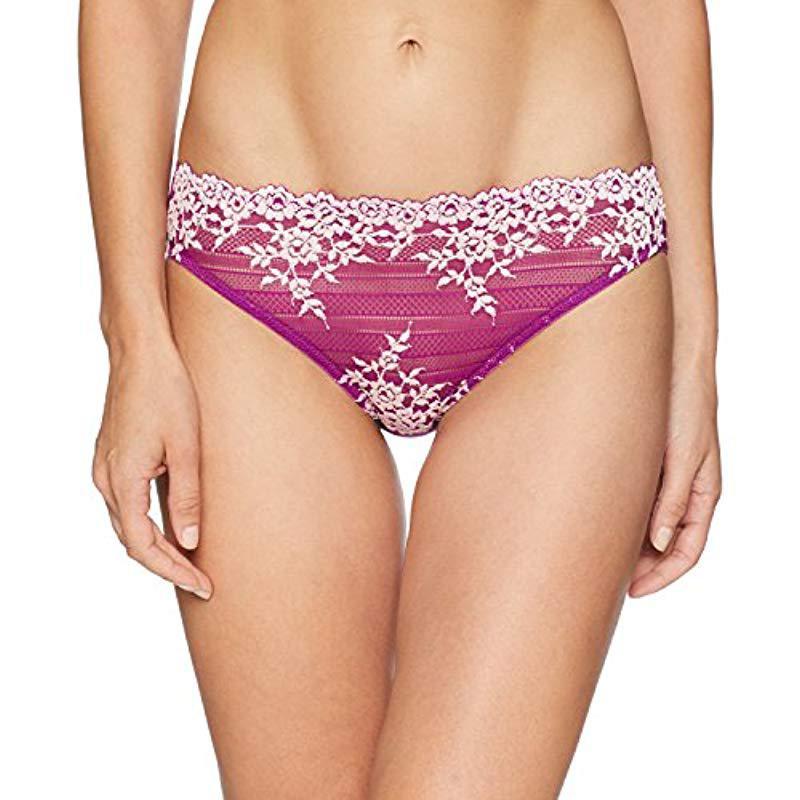 27ec58a2f23f Lyst - Wacoal Embrace Lace Bikini Panty in Purple - Save 56%