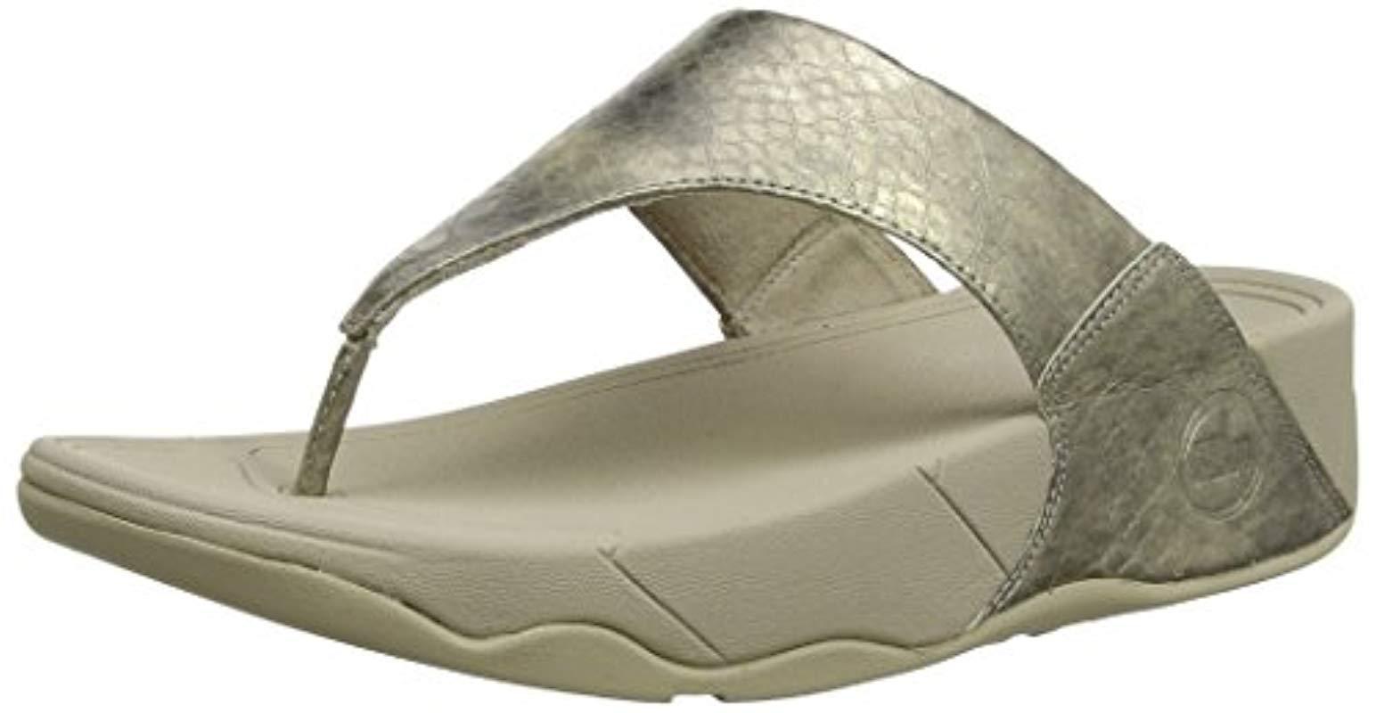 5e141bf80447 Lyst - Fitflop Lulu Metallic Snake Flip-flop in Metallic - Save 41%