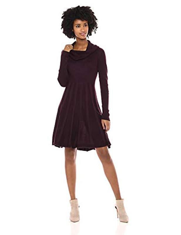 9c930c30b9b0d Calvin Klein. Women's Purple Long-sleeve Cowl-neck Fit & Flare Sweater Dress