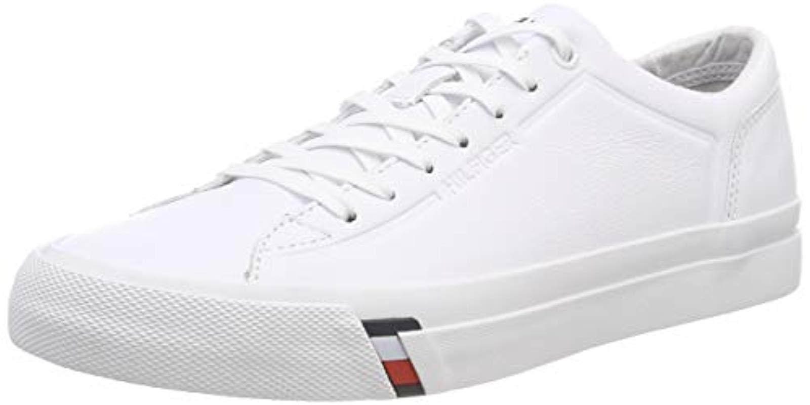 2cb4e9661c58 Tommy Hilfiger Corporate Leather Sneaker Trainers in White for Men ...