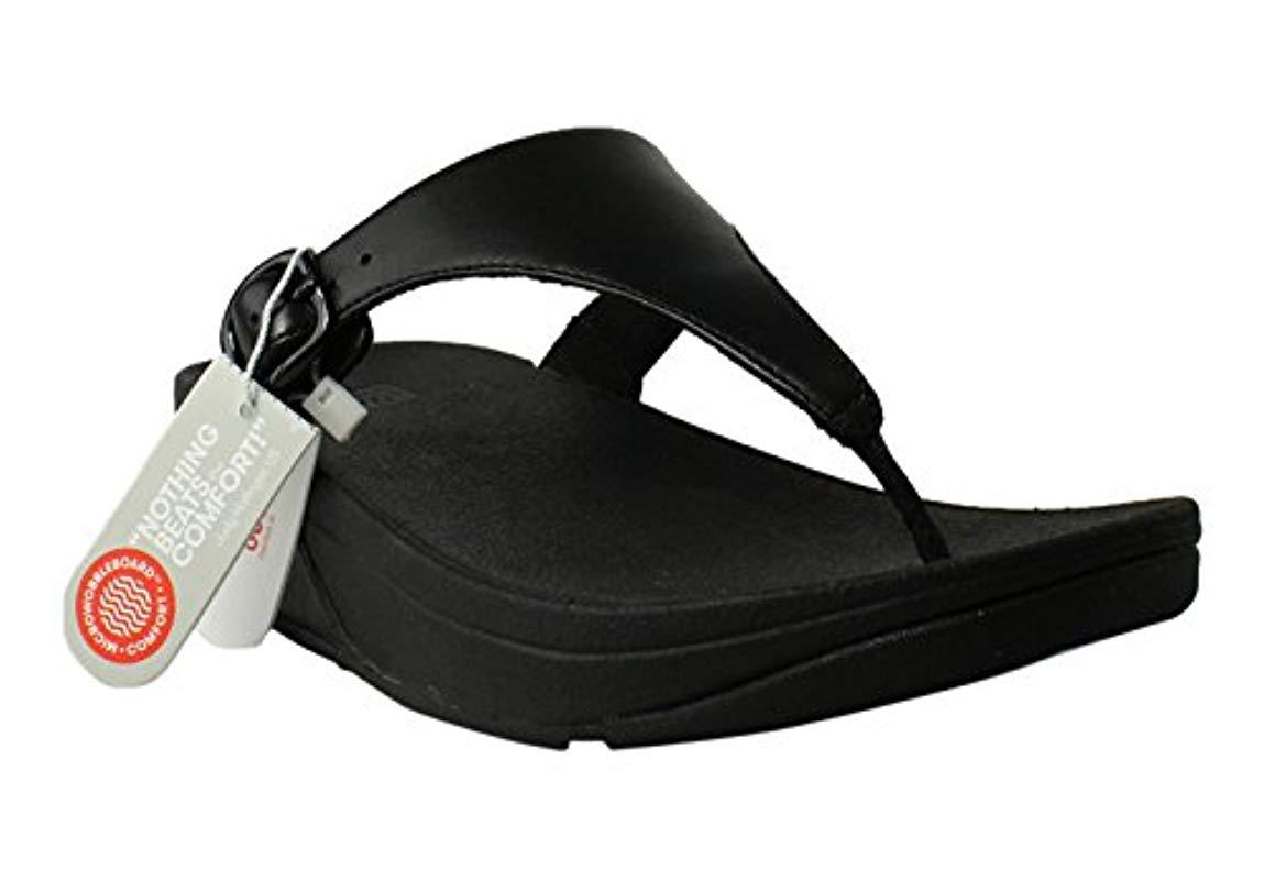 f9302531bde61e Lyst - Fitflop The Skinny Leather Toe-thong Sandals in Black
